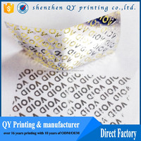 Accept Custom Order and Adhesive Sticker Type Transparent Security VOID Seal Stickers