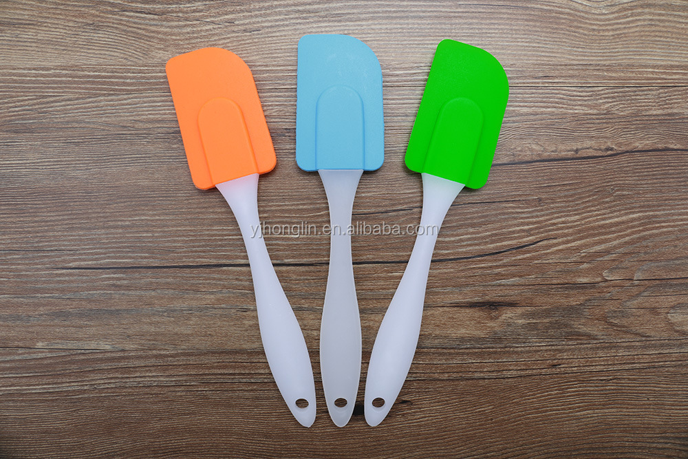 middle size dull polish plastic stirring pastry flat scraper icing silicone spatula