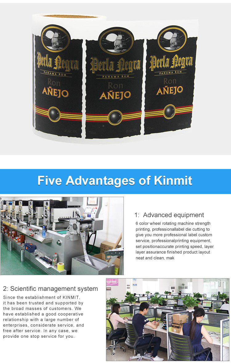 Kinmit High Quality Custom Design Waterproof Wine Bottle Label Printing