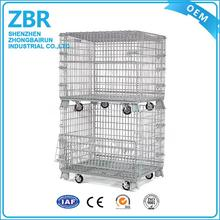 Industrial Foldable Steel Storage Wire Mesh Metal Cage with Wheels