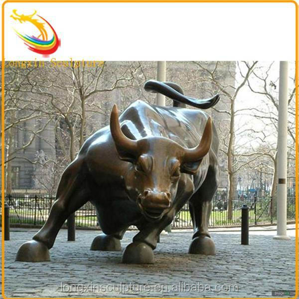 Outdoor Wall Street Cast Bronze Bull Sculpture for Sale