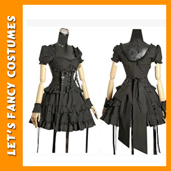 PGWC2505 Cotton lace gothic punk rave lolita costume dress for harajuku cosplay