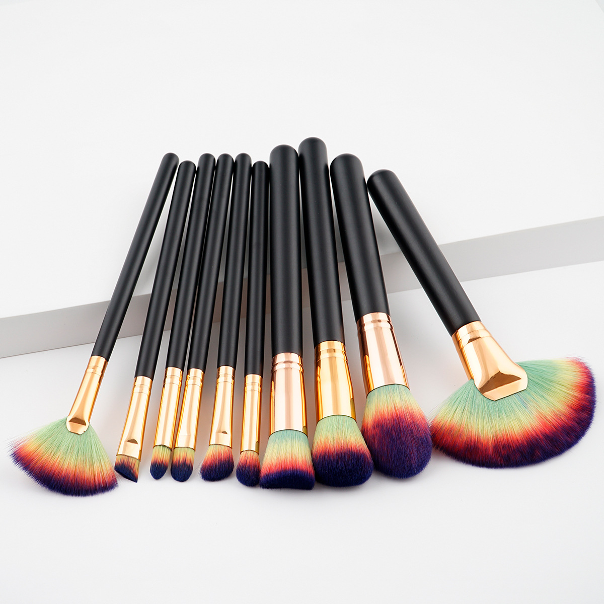 wooden handle make up brushes own brand 10-piece set highly requested on amazon ebay wish