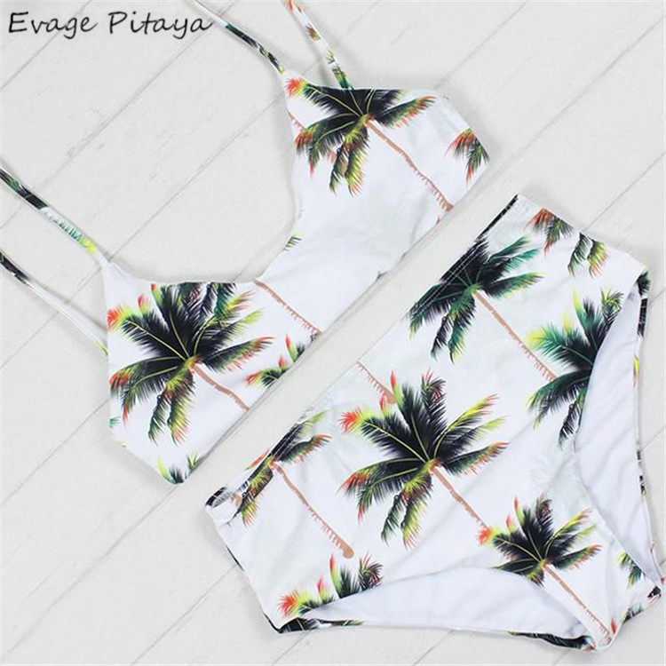 2017 New Low MOQ Palm tree printed Split Padded Adjustable straps high waist swimsuit