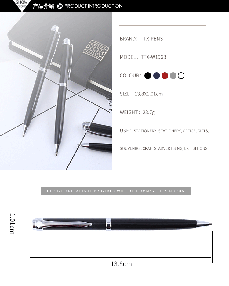 2019 Personalized Black Metal Roller Pen Signature Ballpoint Pen