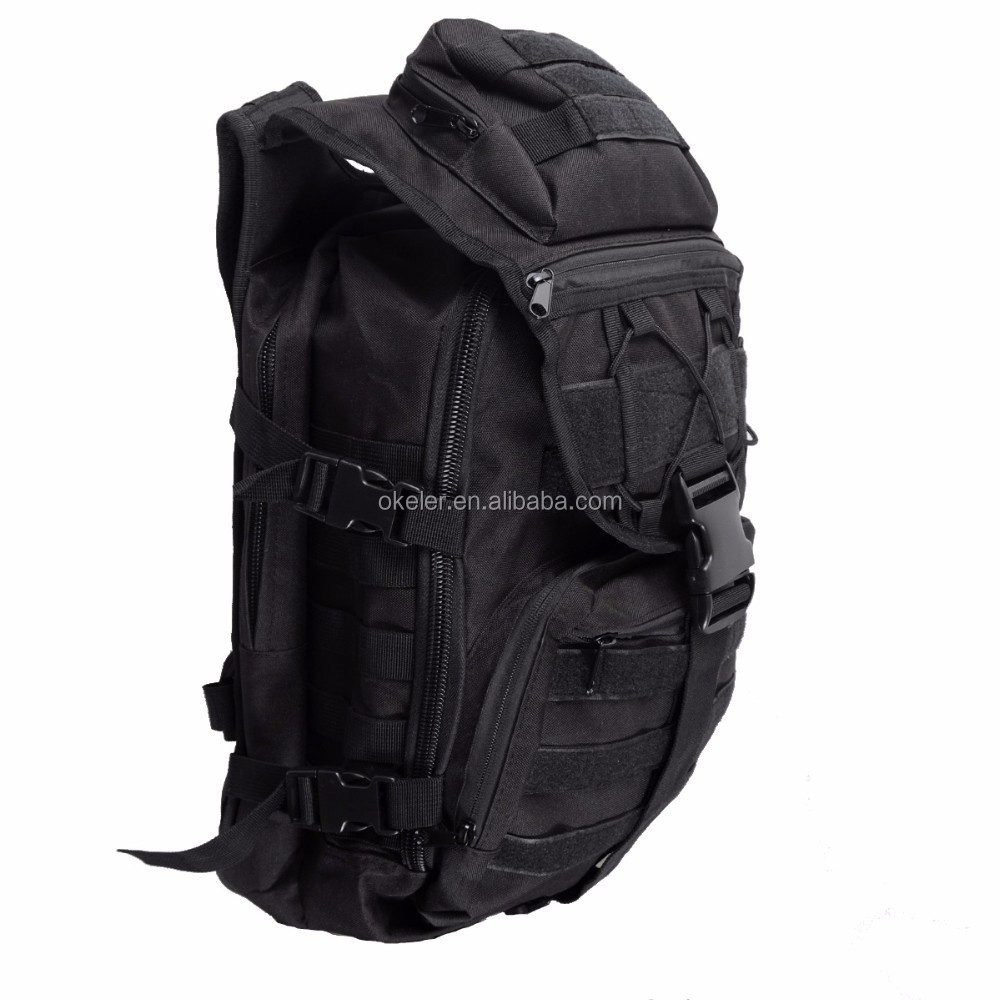 Black Military Bags Hiking Hunting Back Pack Sport Bag Waterproof 600D Nylon Outdoor Backpack