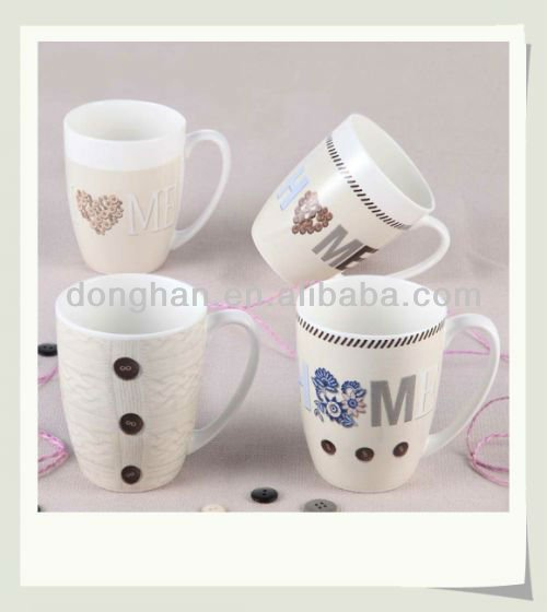 ceramic milk mug white botton ceramic cup for sublimation,