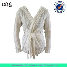 Wholesale Heavy Women Cable Wrap Knit Cardigan Merino Wool Hooded Sweater