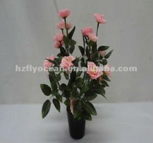 FO-5117 Artificial flowers with plastic pots,pink silk flower,home decoration flower