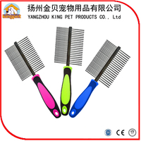 Pet grooming product custom design metal dog comb with plastic handle