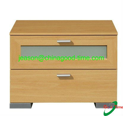 modern design 2 drawers night stand with frosted glass door
