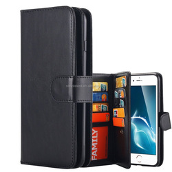 High Quality PU Leather 9 Card Slot Wallet Folio Case with Detachable Magnetic Hard Case For iPhone 7 Plus