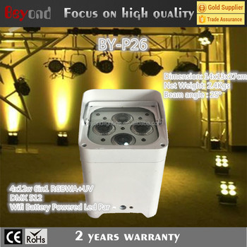 4x12w 6in1 RGBWA+UV DMX 512 Wifi Battery Powered Led Par