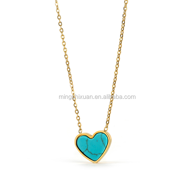 MSX-286L New Christmas jewelry of gold plated turquoise heart necklace