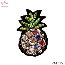 Sewing On Handmade Patch Sequined Beaded Rhinestone Pineapple Patches