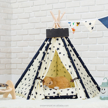 High Quality Little Star Wooden Canvas Portable Pet Tent For Dog Cat