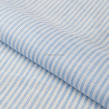 Luthai NOS 100% linen blue stripe yarn dyed woven men shirt fabric 21*21 58*48