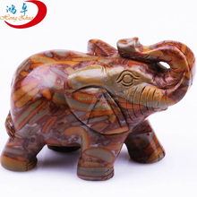 Natural Semi-precious Stone Large Animal flower red jade Hand Carved African Elephant Carvings