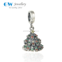 Christmas Tree Pendant Beautiful Silver Pendant CZ Charm