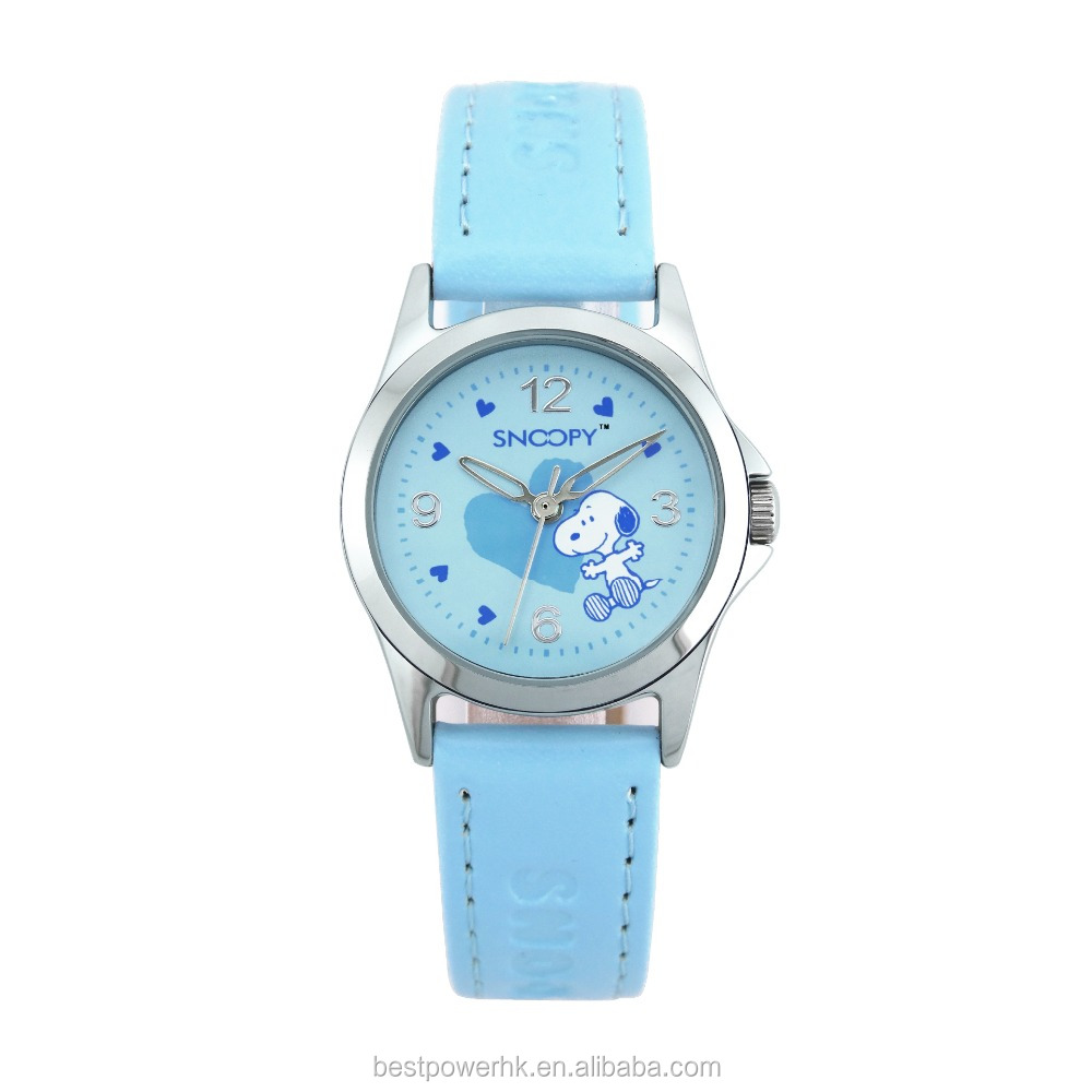 Fashion alloy case three hand kids leather band watches