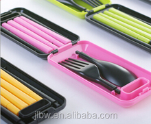 ABS material Colorful Folding Plastic travel cutlery set with square case