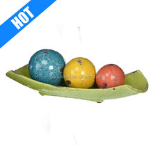 Decorative Ceramic Balls in Tray, Set of 4