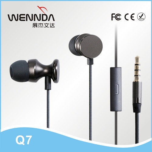 Wholesale high quality in ear stereo earphone for iphone earphone with mic Wennda Q7