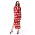Half Sleeve Sides Split Red Long Christmas Women Evening Dress