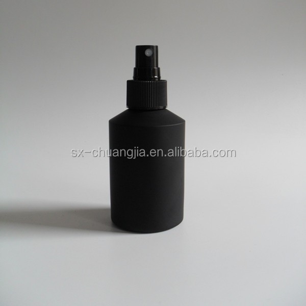 cosmetic packaging 200ml cosmetic black frosted spray glass bottle for rose water