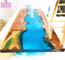 beauty blue ocean solid wood slab river dining <strong>table</strong> epoxy resin <strong>table</strong>