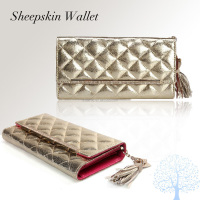 Hot selling soft leather purse wallet, fashion design sheepskin wallet