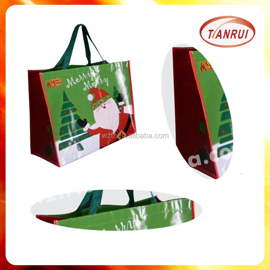 Custom hot sale eco promotional cheap Christmas laminated non woven shopping bags from bag manufacturer