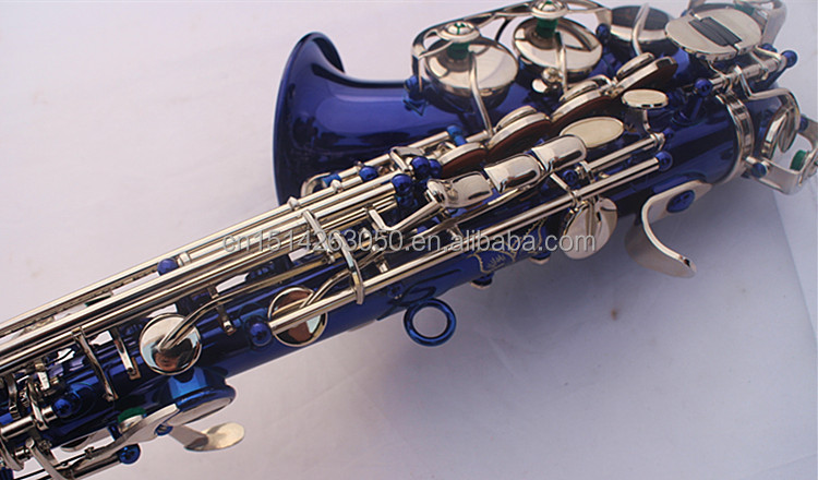SS-BN Blue Lacquer Curved bell Soprano Sax