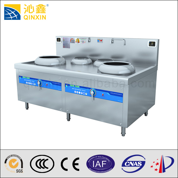commercial industrial induction wok station with sink