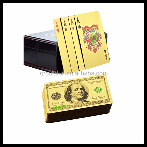 Durable gold PET playing cards best business gift gold playing cards