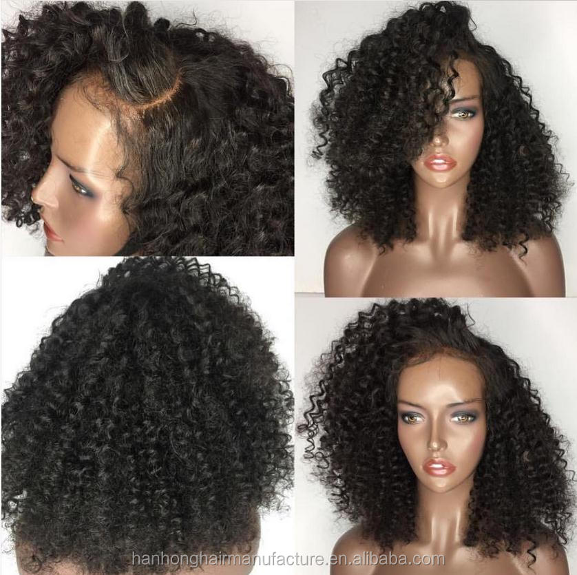 Stocking virgin indian curly hair 8-30inch lace front afro wigs for black women