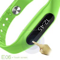 smart bracelet E06 Silicon Wristband/Pedometer Monitoring smart watch for health LED touch screen vibrating