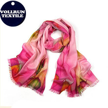 Flower Digital Print Pure Wool Shawl Wrap Pink Shade for Wholesale
