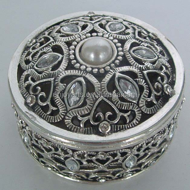 Pewter Plated Round Decorative Metal Jewelry Trinket Box