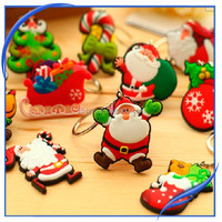 promotion gift PVC christmas santa clause metal key ring