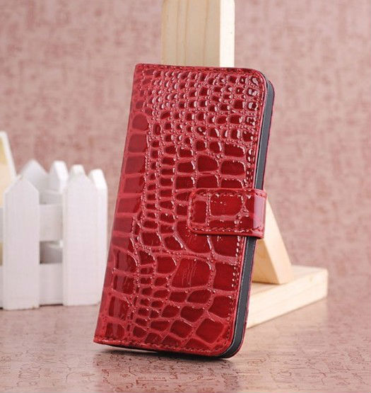 Red /Stylish & Luxurious Folio Design Crocodile Pattern Premium PU Leather Smart Stand Case Cover Wallet for Apple iPhone5 5 G