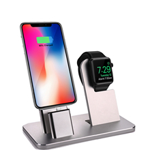 Aluminum 2 in 1 Charging Dock Charging Stand for iphone For Apple Watch Stand Charging Dock for IPhone 8 8 Plus X