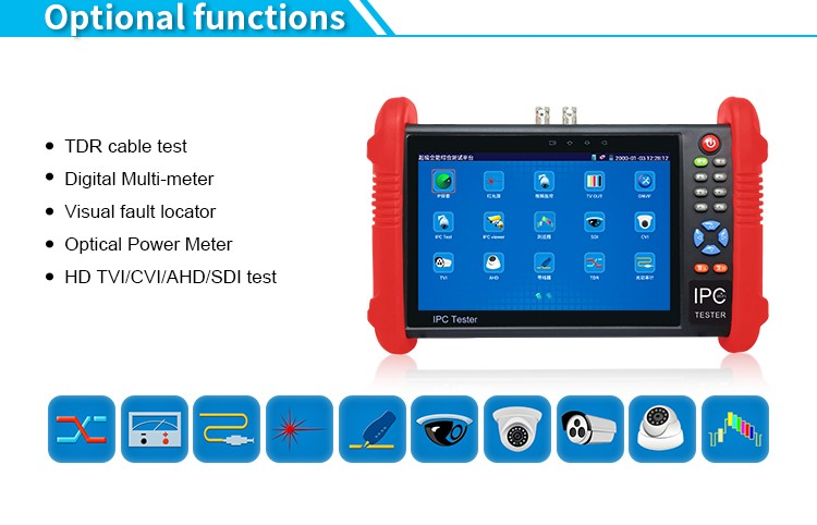 7 inch touch screen TVI CVI AHD SDI cctv camera tester IPC-9800ADHS