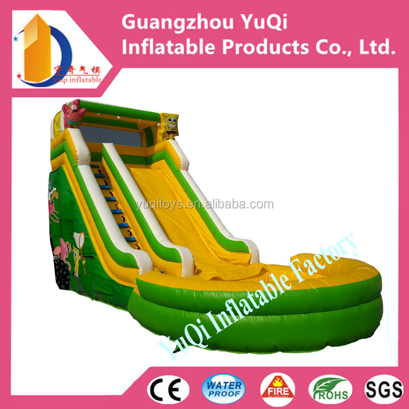 CE certification Double Stitching Inflatable Slide ,Spogebob theme Inflatables Slide With Pool Swimming