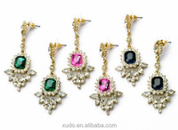 latest gold earring designs crystal diamond pendant earring 3 colors available
