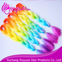 Large stock 165g 32 inch folded rainbow ombre color jumbo braided hair for lady