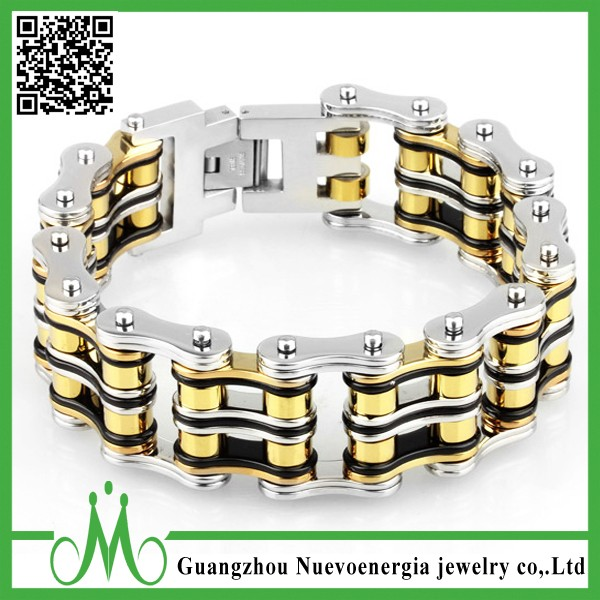Bike Bicycle Chain Bracelet 316L Stainless Steel Link Bracelet Fashion Hand Chain For Men Silver Gold Black