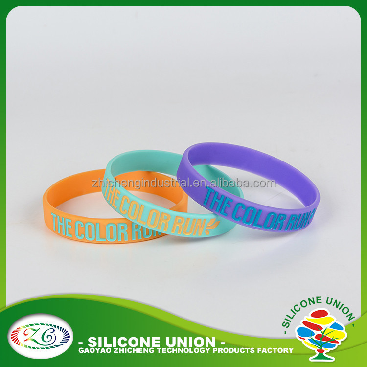 Debossed color filled colorful silicone bead bracelet