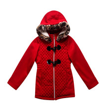 Best selling classic style red color 340g CVC french terry fabric child coat
