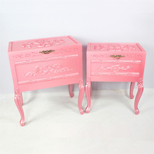 European style mdf pink flower carved acrylic nightstan bedroom <strong>furniture</strong>